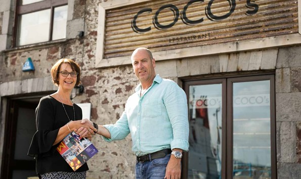 Clare Stowell with COCO's owner Chris Vane at Milford Waterfront